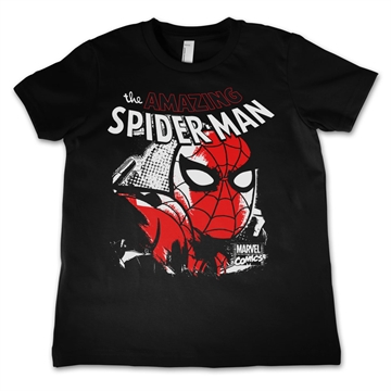 Spiderman - Close Up sort - Børne T-Shirt
